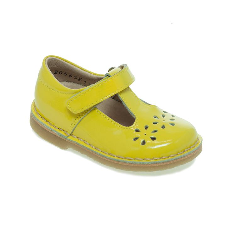 Petasil Cecily  Classic T-Bar Shoe in Metallic Mustard Yellow Patent